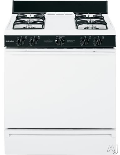 Hotpoint RGB518PCH 30 Inch Freestanding Gas Range with 4 Open Burners, Manual Clean Oven, 2 Oven Racks, Slide-Out Broiler Drawer, Cordless Battery Ignition and ADA Compliant