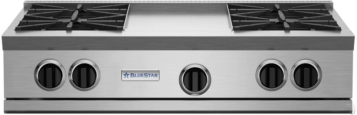"BlueStar RGTNB Series RGTNB364GV2NG 36 Inch Gas Rangetop with 4 Open Burners, 22,000 BTU Power Burners, Simmer Burner, 12"" Griddle and Single Point Spark Ignition: Natural Gas"
