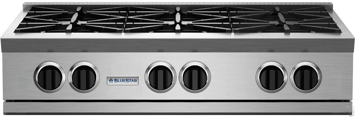 BlueStar RGTNB Series RGTNB366BV2NG 36 Inch Gas Rangetop with 6 Open Burners Total, 22,000 BTU UltraNova Burners, 15,000 BTU Nova Burners, Precise 130-Degree Simmer Burner, Integrated Wok Cooking, Dishwasher Safe Drip Trays and Full Motion Grates: Natural