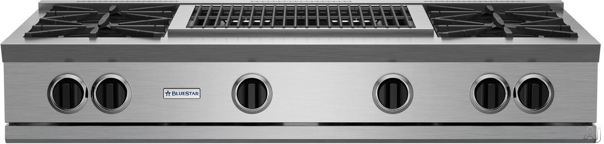 """BlueStar RGTNB Series RGTNB484CBV2NG 48 Inch Gas Rangetop with 4 Open Burners, 22,000 BTU Power Burners, Simmer Burner, 24"""" Charbroiler and Single Point Spark Ignition: Natural Gas"""