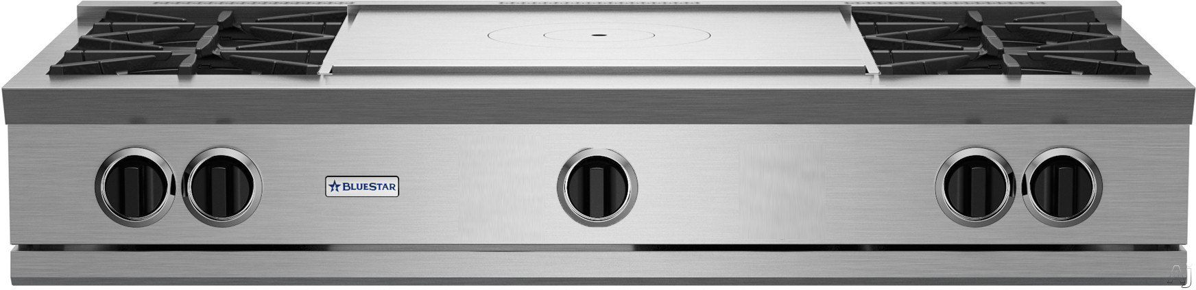 """BlueStar RGTNB Series RGTNB484FTBV2NG 48 Inch Gas Rangetop with 4 Open Burners, 22,000 BTU Power Burners, Simmer Burner, 24"""" French Top and Single Point Spark Ignition: Natural Gas"""