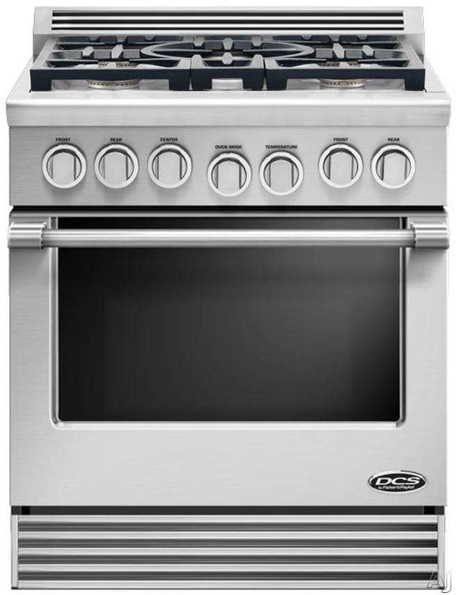 "DCS Professional Series RGV305N 30"" Pro-Style Slide-In Gas Range with 5 Sealed Burners, 4.6 cu. ft. Manual Clean Oven with 3 Adjustable Extension Telescopic Racking System and Infrared Broiler: Stainless Steel, Natural Gas"