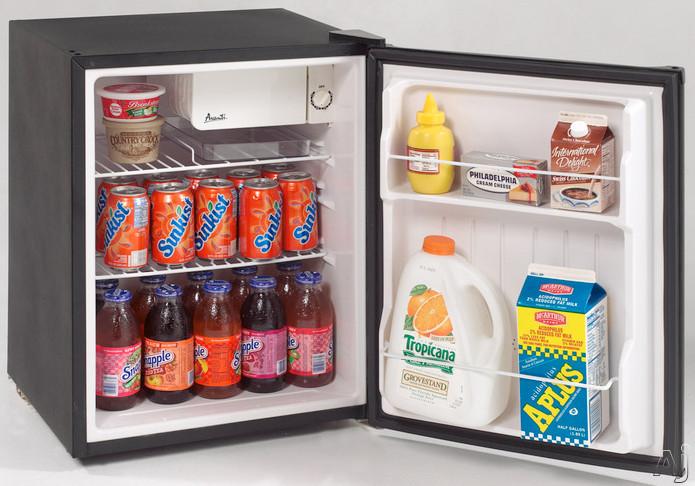 Avanti RM2411B 2.4 cu. ft. Compact Refrigerator with Wire Shelves, Full-Width Door Bins, Chiller, U.S. & Canada RM2411B