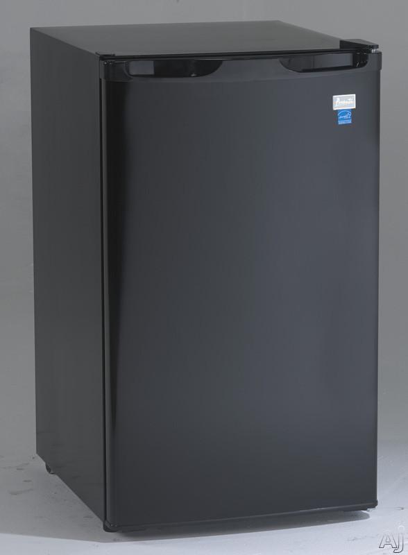 Avanti RM4416B 4.4 cu. ft. Compact Refrigerator with 2 Slide-Out Glass Shelves, 3 Door Bins, 6-Can Door Storage, Interior Light, Reversible Door and Energy Star Rated: Black