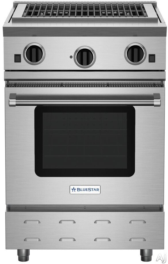 BlueStar RNB Series RNB24CBV2 24 Inch Gas Range with Charbroiler Grill, Convection Oven, Gliding Oven Rack, 750 Color Options and Manual Clean