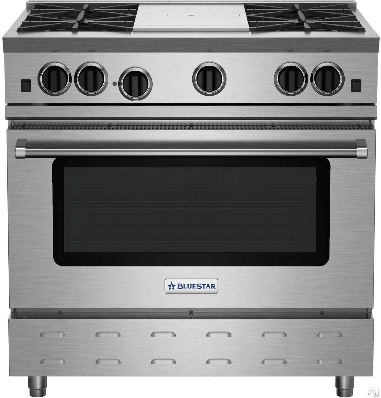 """BlueStar RNB Series RNB364FTV2NG 36 Inch Gas Range with French Top, UltraNovaâ""""¢ Burners, Convection Oven, Infrared Broiler, Gentle Simmer Burner, and 750+ Colors: Natural Gas"""