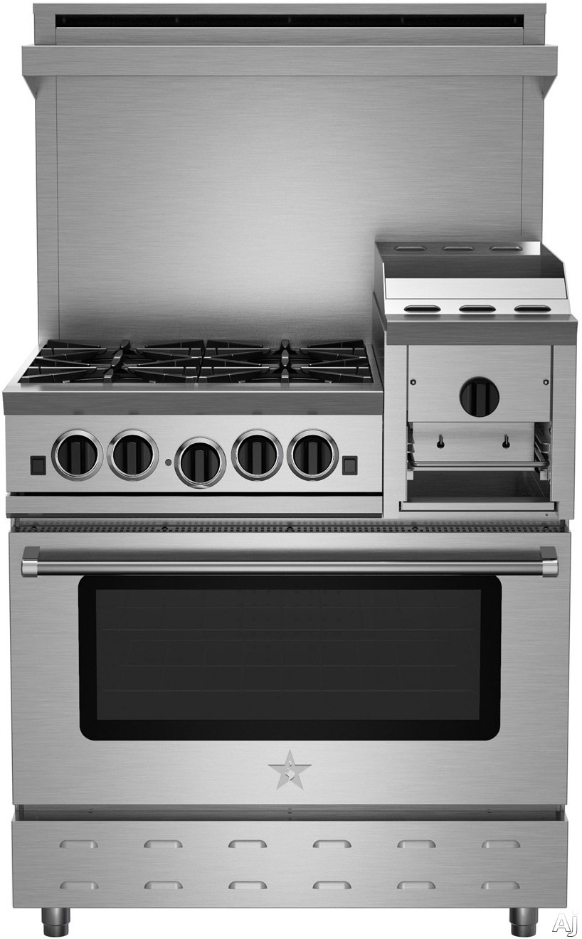 BlueStar Heritage Classic Series RNB364GHCV2 36 Inch Freestanding Gas Range with 4 Open Burners, 12 Inch Griddle/Broiler, UltraNova Burners, Precise Simmer Burner, Convection Oven, Gliding Oven Rack, 750 Color Options and Manual Clean RNB364GHCV2