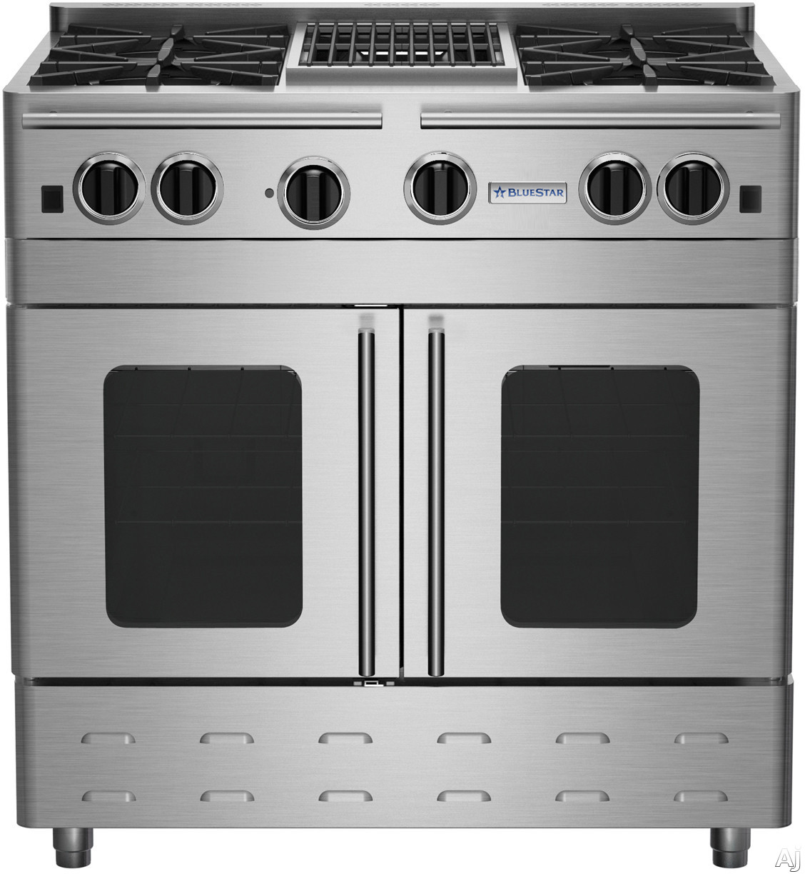 BlueStar Precious Metals Collection RNB364CBPMV2 36 Inch Stainless Steel Gas Range with 4 Open Burners, 12