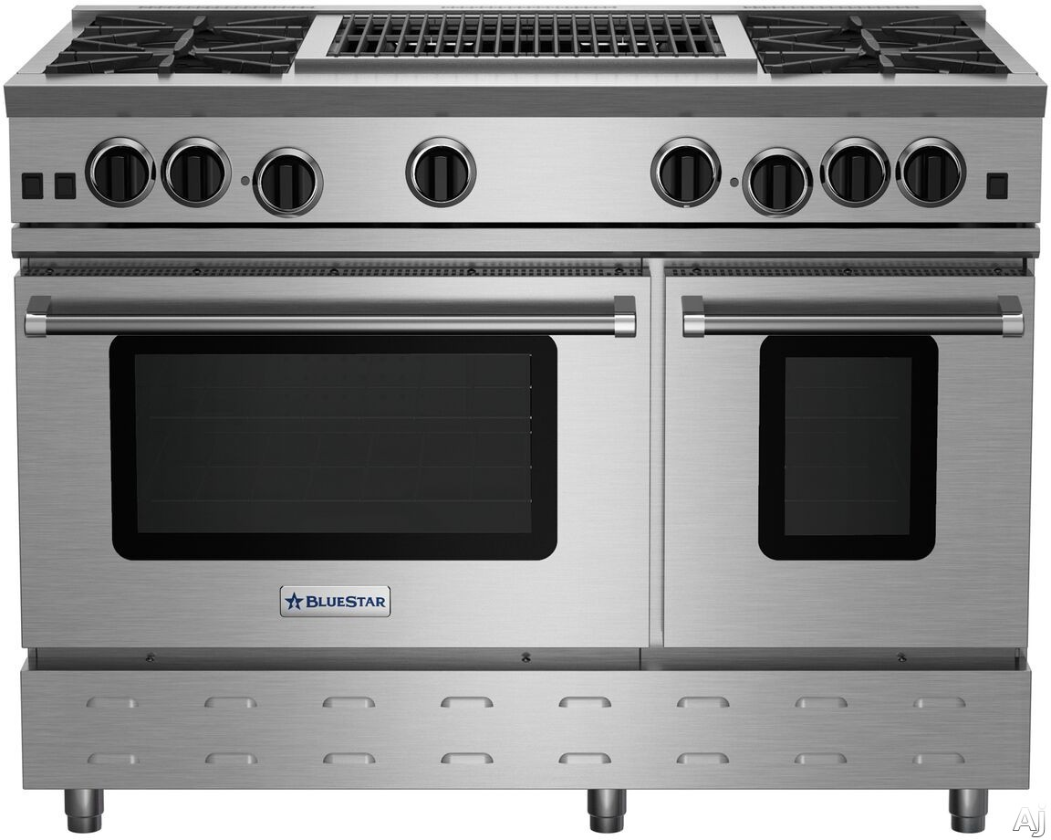 BlueStar RNB Series RNB484CBV2 48 Inch Gas Range with 24 Inch Charbroil Grill, 4 Open Burners, UltraNova Burners, Precise Simmer Burner, 2 Convection Ovens, Gliding Oven Rack and 750 Color Options