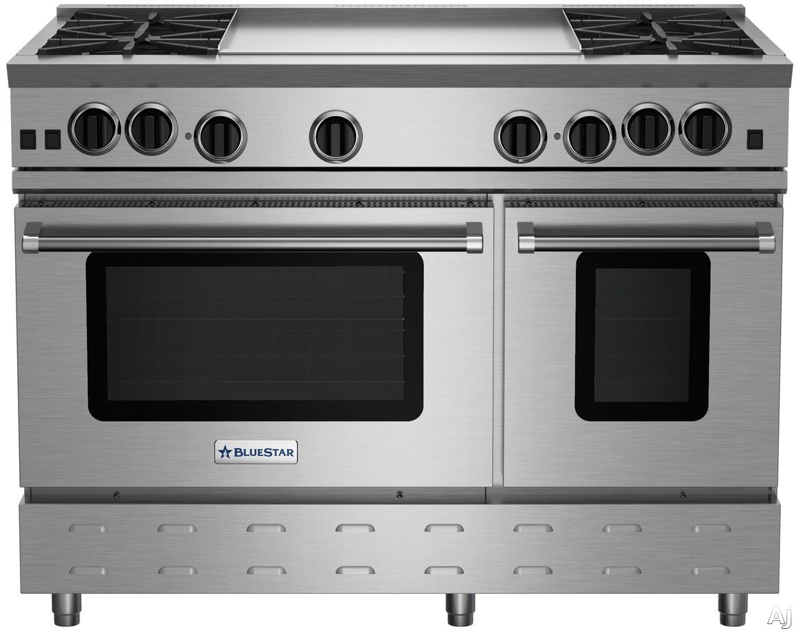 BlueStar RNB Series RNB484GCBV2 48 Inch Gas Range With 4 Open Burners, 12 Inch Charbroil Grill, 12 Inch Griddle, Ultranova Burners, Precise Simmer Burner, 2 Convection Ovens, Gliding Oven Rack, 750 Co