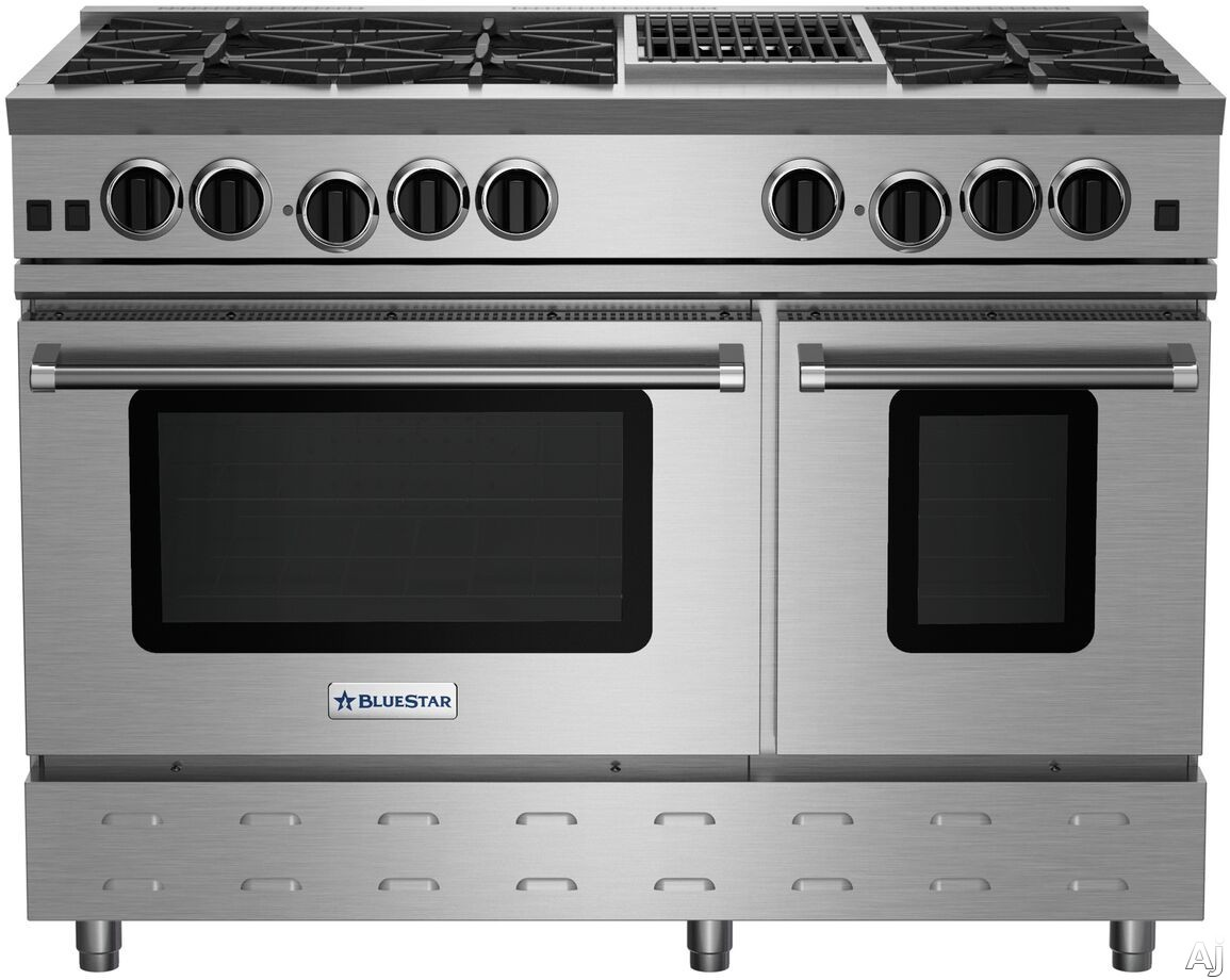 BlueStar RNB Series RNB486CBV2 48 Inch Gas Range with 6 Open Burners, 12 Inch Charbroil Grill, UltraNova Burners, Precise Simmer Burner, 2 Convection Ovens, Gliding Oven Rack, 750 Color Options and Ma