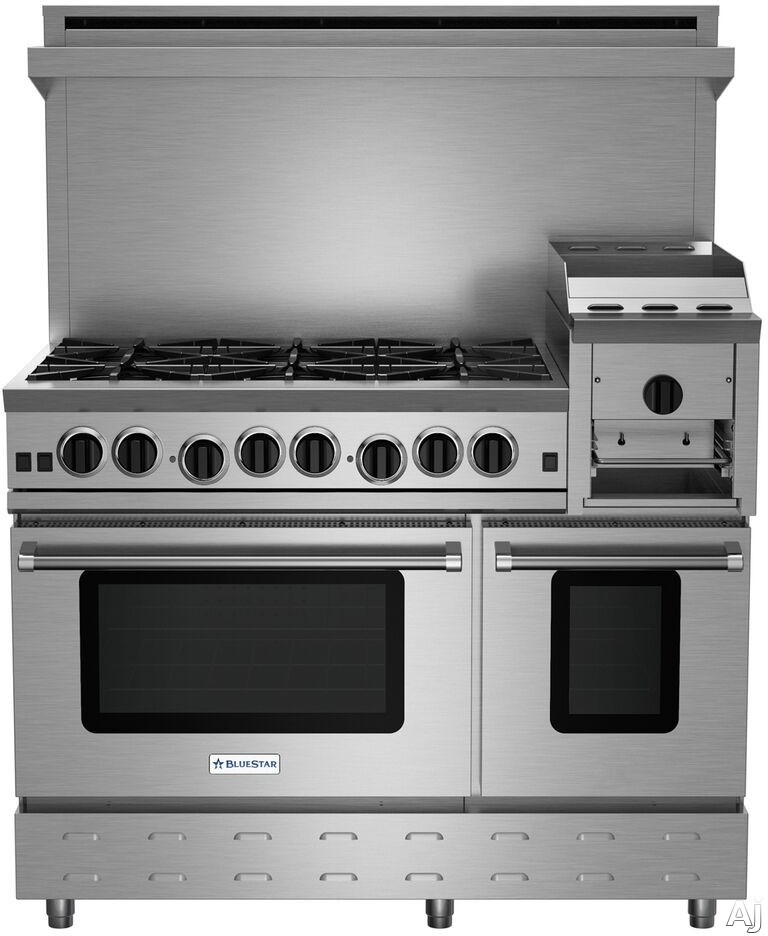 BlueStar Heritage Classic Series RNB486GHCV2LP 48 Inch Gas Range with 6 Open Burners, 12 Inch Griddle/Broiler, UltraNova Burners, Precise Simmer Burner, Convection Oven, Gliding Oven Rack, 750 Color Options and Manual Clean: Liquid Propane