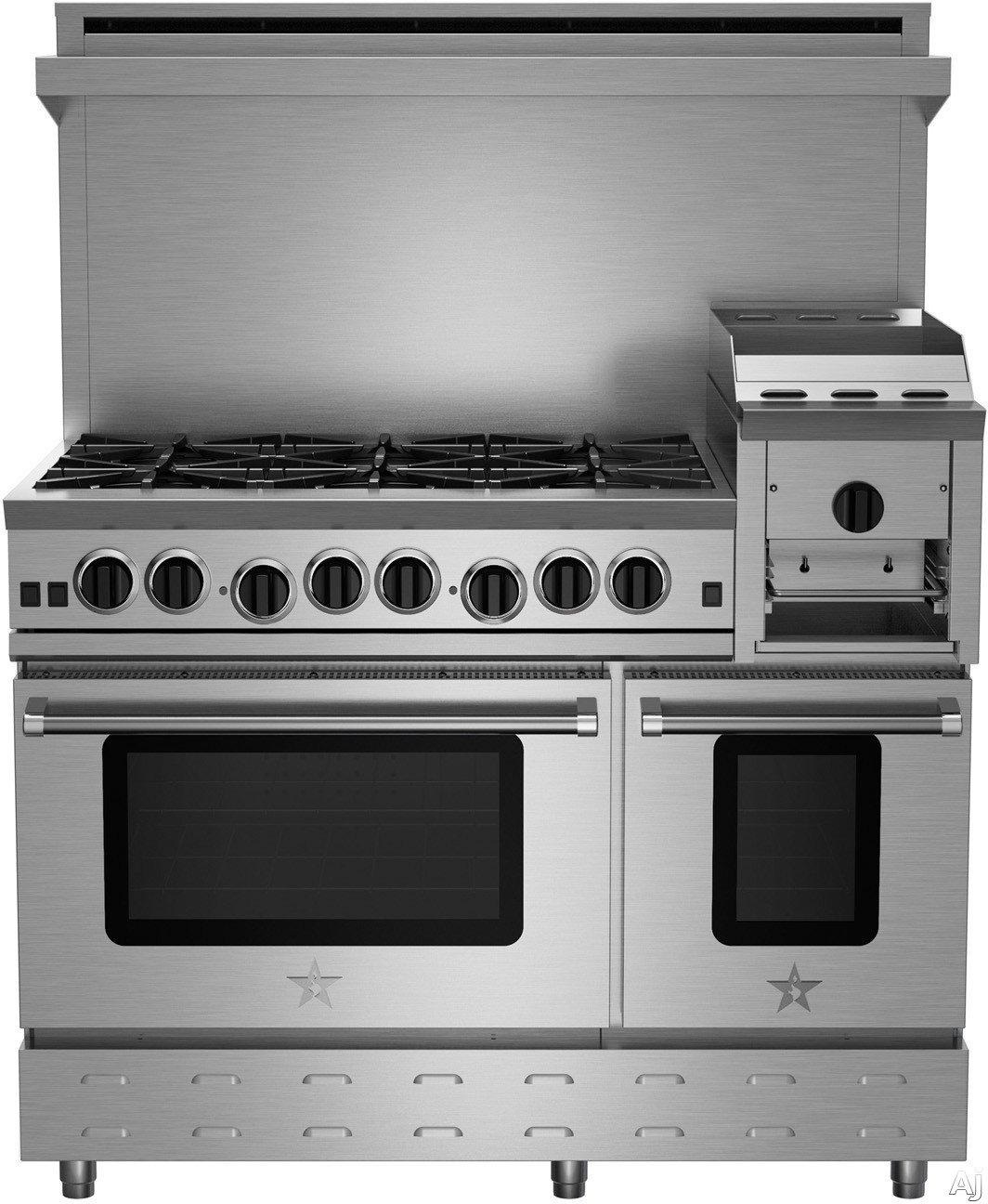 BlueStar Heritage Classic Series RNB486GHCV2 48 Inch Freestanding Gas Range with 6 Open Burners, 12 Inch Griddle/Broiler, UltraNova Burners, Precise Simmer Burner, 2 Convection Ovens, Gliding Oven Rack, 750 Color Options and Manual Clean RNB486GHCV2