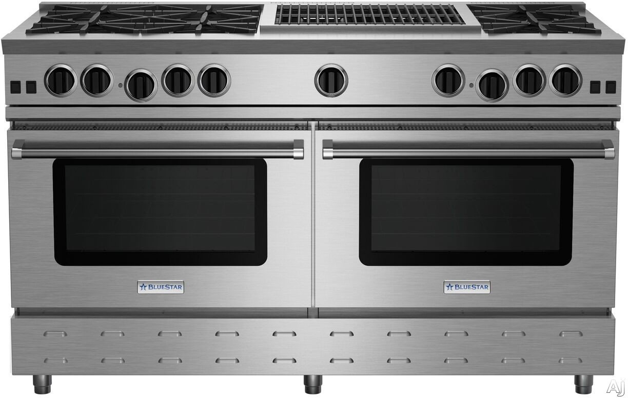 BlueStar RNB Series RNB606CBV2 60 Inch Freestanding Gas Range with 6 Open Burners, 24 Inch Charbroiler, UltraNova Burners, Precise Simmer Burner, 2 Commercial Capacity Convection Ovens, Gliding Oven R