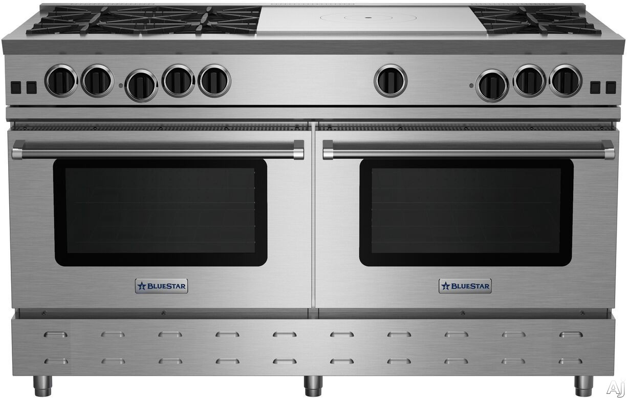 BlueStar RNB Series RNB606FTBV2 60 Inch Freestanding Gas Range with 6 Open Burners, 24 Inch French Top, UltraNova Burners, Precise Simmer Burner, 2 Commercial Capacity Convection Ovens, Gliding Oven R
