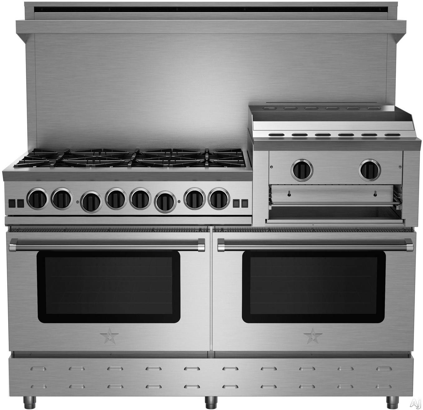 BlueStar Heritage Classic Series RNB606GHCV2 60 Inch Freestanding Gas Range with 6 Open Burners, 24 Inch Griddle/Broiler, UltraNova Burners, Precise Simmer Burner, Commercial Capacity Convection Oven, Gliding Oven Rack, 750 Color Options and Manual Clean