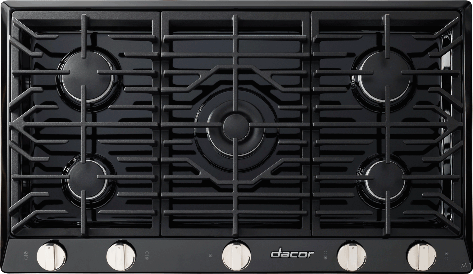 Dacor Renaissance RNCT305GBLP 30 Inch Gas Cooktop with 5 Sealed Burners, SimmerSear Burner w/ Melting Feature, Continuous Grates, Perma-Flame Ignition, Smart Flame Technology, One Piece Spill Basin, Illumina Indicator Lights and Downdraft Compatible: Blac