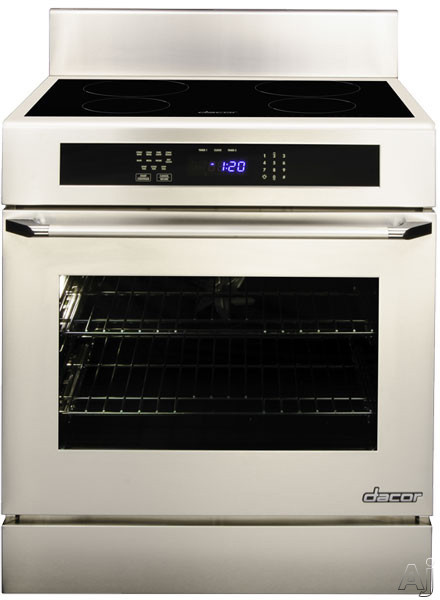 "Dacor Renaissance RNR30NS 30"" Freestanding Electric Range with 4 Induction Elements, 2,800 W Element, 4.8 cu. ft. Convection Oven, Hidden Bake Element and GreenClean Self Clean Cycle: Epicure Handle, Stainless Steel"