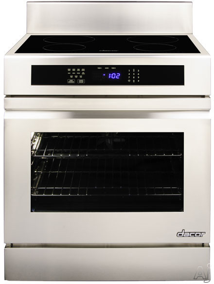 "Dacor Renaissance RNR30NFS 30"" Freestanding Electric Range with 4 Induction Elements, 2,800 W Element, 4.8 cu. ft. Convection Oven, Hidden Bake Element and GreenClean Self Clean Cycle: Flush Handle, Stainless Steel"