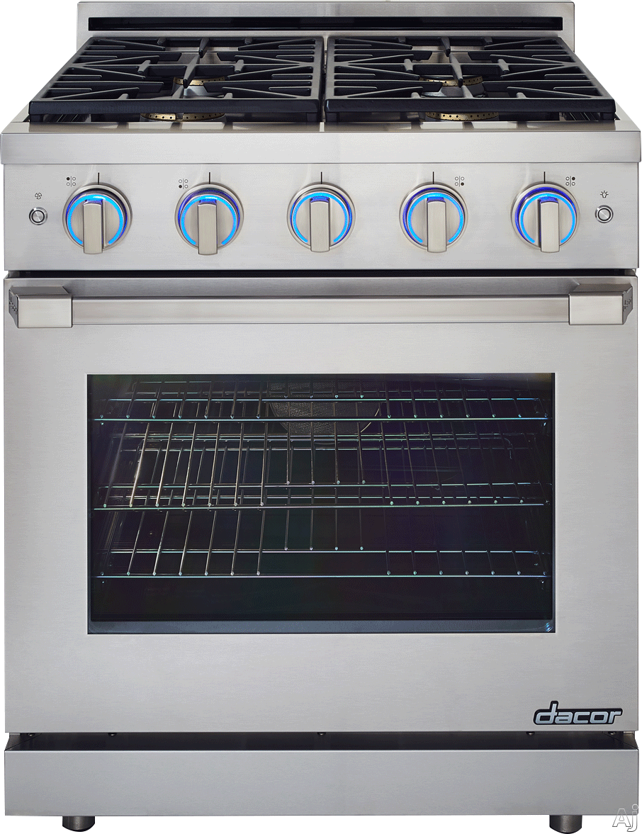 Image of Dacor Renaissance RNRP30GSNGH 30 Inch Slide-in Gas Range with 1 SimmerSear Burner, 3 Standard Burners, 5.2 cu. ft. Convection Oven, 2 GlideRacks, 1 Chrome Rack, Infrared Ceramic Broiler, Illumina Knob Controls and Self-Cleaning Mode: Natural Gas, Stainles