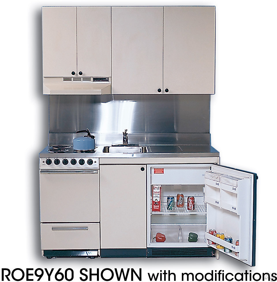 Acme Full Feature Kitchenettes ROG Compact Kitchen with Stainless Steel Countertop 4 Gas Burners Oven Sink and Compact Refrigerator