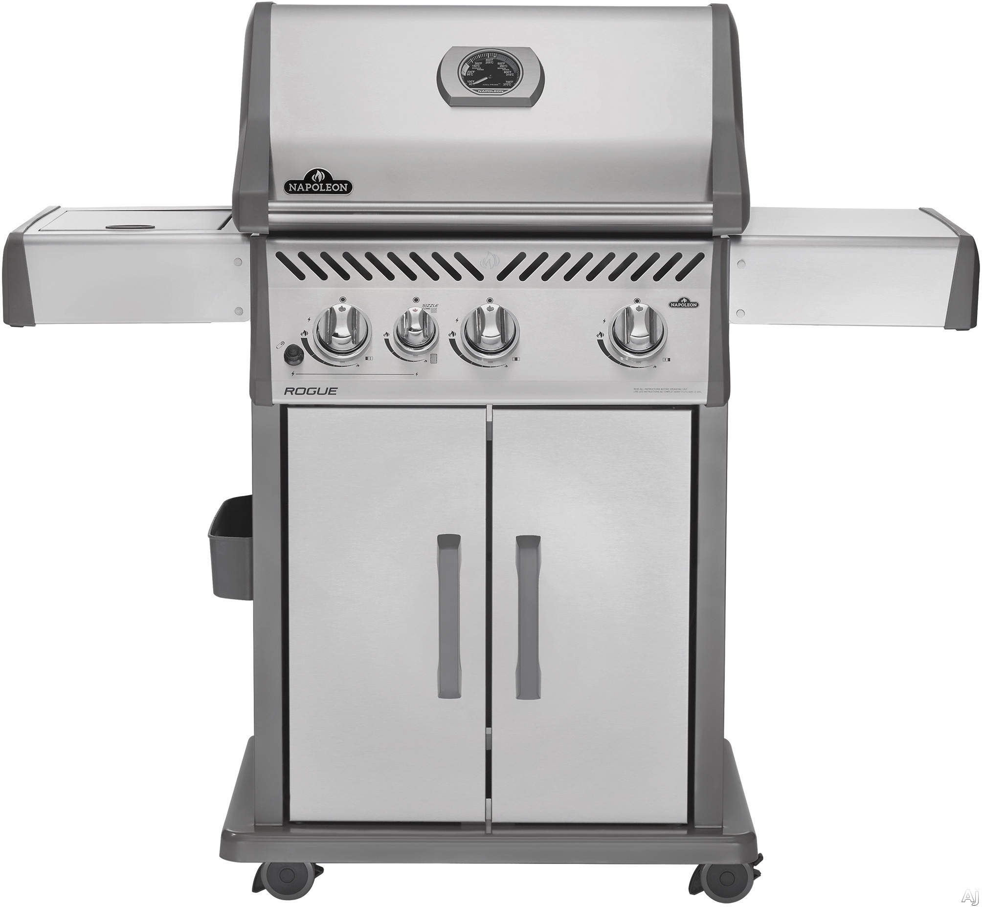 Image of Napoleon Rogue Series R425SIBPSS 32 Inch Gas Grill with 3 12,000 BTU Stainless Steel Tube Burners, 9,000 BTU Infrared SIZZLE ZONE Side Burner, JETFIRE Ignition, Steel Cart, 625 sq. in. Total Area, WAVE Stainless Steel Grid, Chrome Warming Rack and Stainle