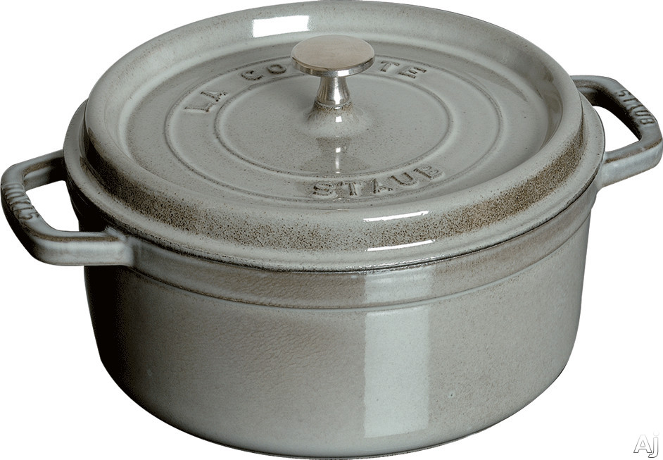 Staub 1103018 9 Quart Cast Iron Round Cocotte with Heavyweight Lid, Induction Suitable, Oven Safe, Made in France, Dishwasher Safe and Nickel Steel Knob: Grey