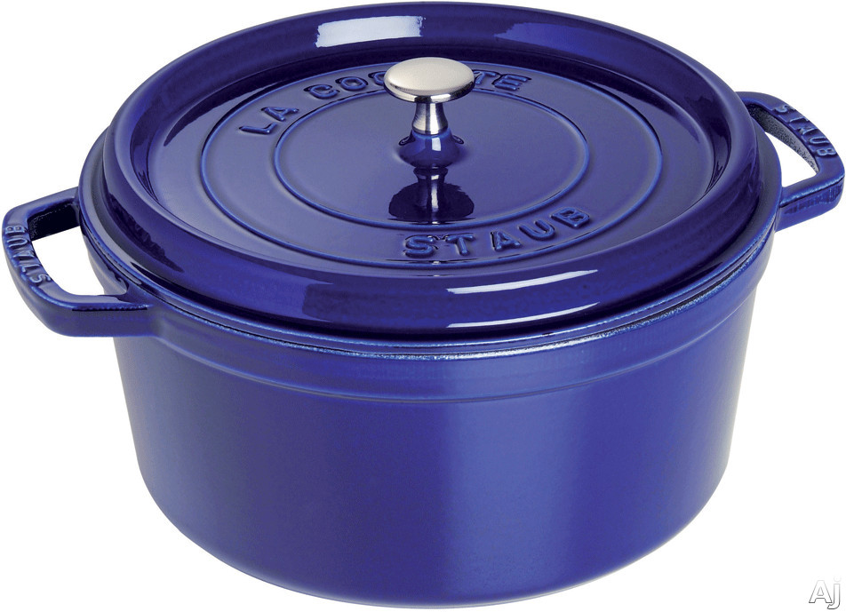 Staub 1102691 5-1/2 Quart Cast Iron Round Cocotte with Heavyweight Lid, Induction Suitable, Oven Safe, Made in France, Dishwasher Safe and Nickel Steel Knob: Dark Blue