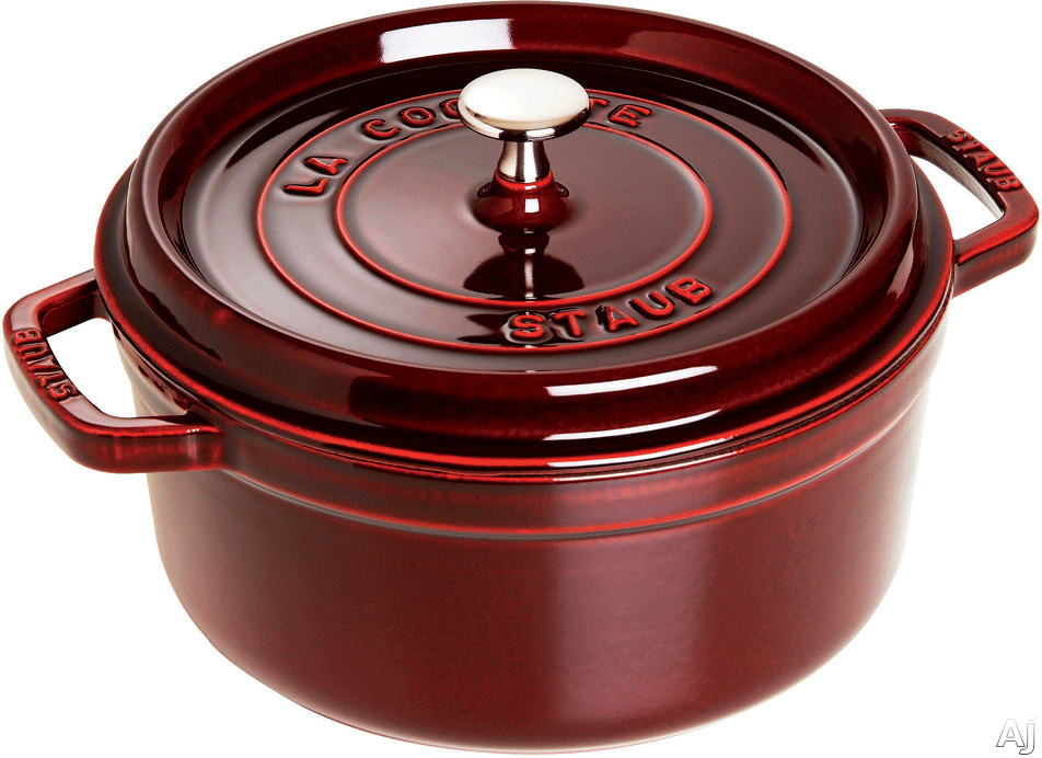 Staub 1102687 5-1/2 Quart Cast Iron Round Cocotte with Heavyweight Lid, Induction Suitable, Oven Safe, Made in France, Dishwasher Safe and Nickel Steel Knob: Grenadine