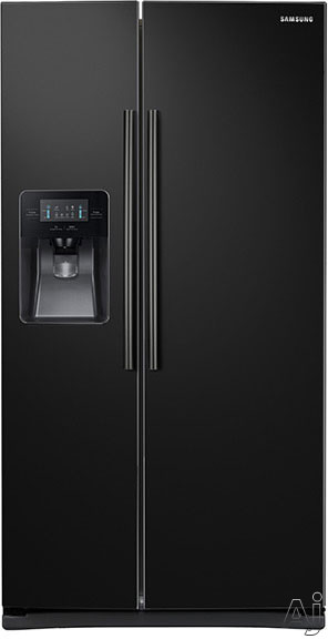 Samsung RS25J500DBC 36 Inch Side-by-Side Refrigerator with Filtered Ice and Water Dispenser, Power Cool/Power Freeze, Adjustable Spill Proof Shelves, 2 Humidity Controlled Drawers, Gallon Door Bins, LED Display, 25 cu. ft. Capacity and ENERGY STAR: Black