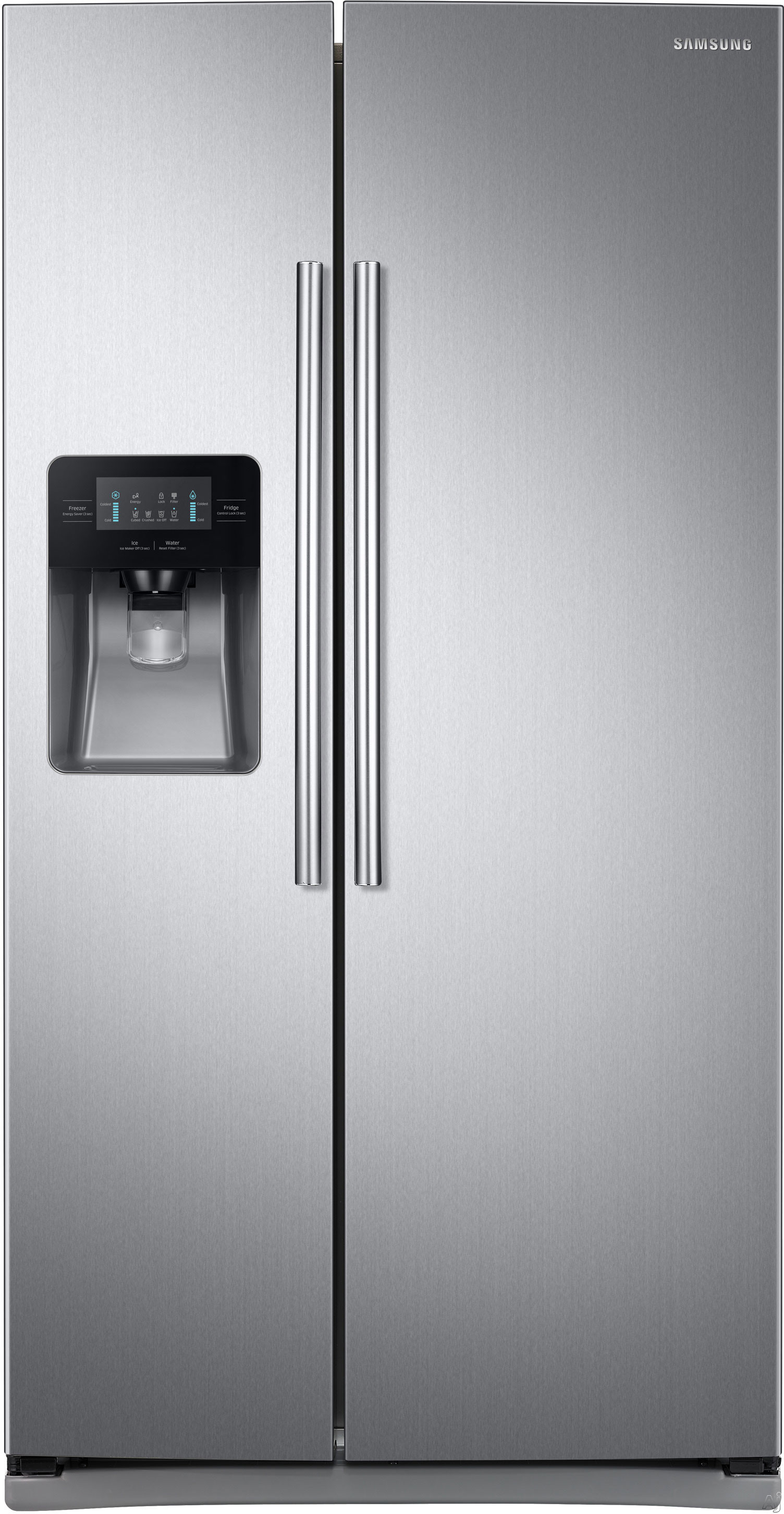 Samsung RS25J500D 36 Inch Side-by-Side Refrigerator with Filtered Ice and Water Dispenser, Power Cool/Power Freeze, Adjustable Spill Proof Shelves, 2 Humidity Controlled Drawers, Gallon Door Bins, LED Display, 25 cu. ft. Capacity and ENERGY STAR