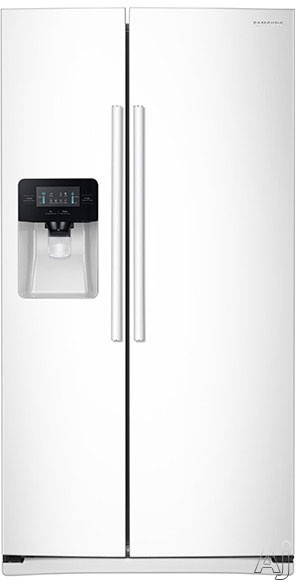 Samsung RS25J500DWW 36 Inch Side-by-Side Refrigerator with Filtered Ice and Water Dispenser, Power Cool/Power Freeze, Adjustable Spill Proof Shelves, 2 Humidity Controlled Drawers, Gallon Door Bins, LED Display, 25 cu. ft. Capacity and ENERGY STAR: White
