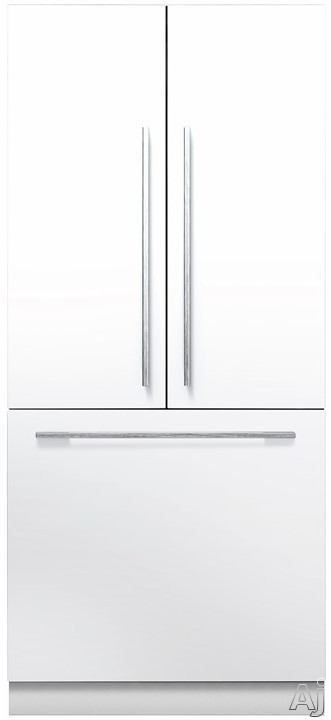 Fisher & Paykel Active Smart RS36A80J1 36 Inch Built-In French Door Refrigerator with 16.8 cu. ft. Capacity, 3 Adjustable Spill-Safe Glass Shelves, ActiveSmart Technology, SmartTouch Controls, LED Lighting, Ice Maker and Sabbath Mode Requires Door Panels