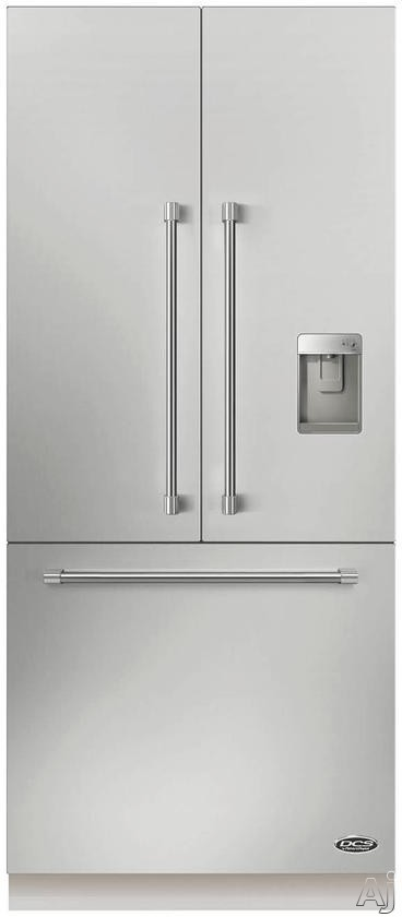 DCS ActiveSmart Series RS36A80UC1 36 Inch Counter-Depth French Door Refrigerator with 3 Glass Shelves, 3 Crisper Drawer, 6 Door Bins, Ice Maker with Scoop, External Water Dispenser, Frost-Free Defrost and LED Lighting: Panel Ready RS36A80UC1