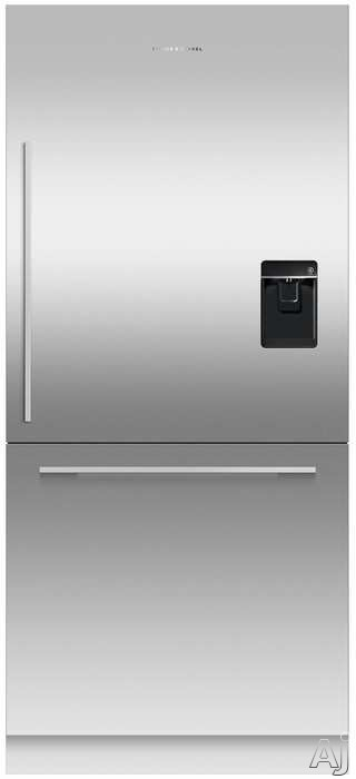 Picture of Fisher  Paykel RS36W80RU1N 36 Inch Bottom Freezer Refrigerator with 168 cu ft Capacity Adjustable Glass Shelves 2 Crisper Drawers ActiveSmart Technology Fast Freeze Bottle Chill ENERGY STAR Certification and Water Dispenser Stainless Steel Panel Sold Separately