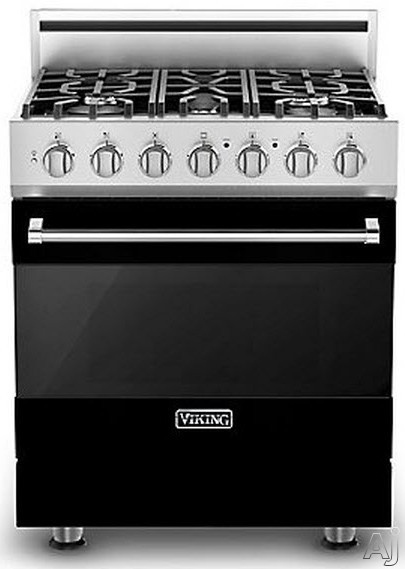 Viking 3 Series RVDR33015BBK 30 Inch Freestanding Dual Fuel Range with 5 Sealed Burners 18 000 BTU 47 cu ft Convection Oven Heavy Duty Continuous Grates and TruGlide Full Extension Rack Black Natural Gas
