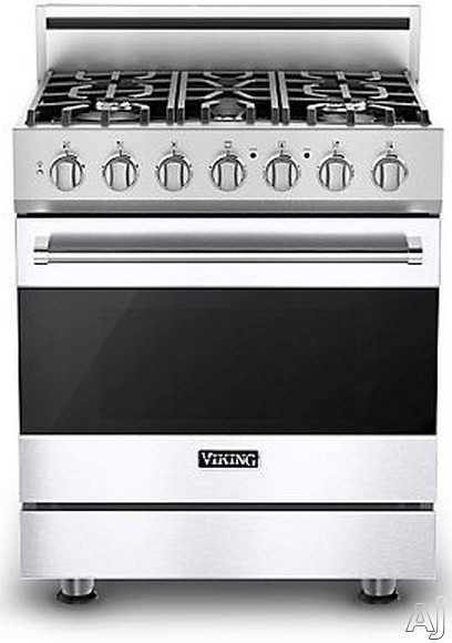 Viking 3 Series RVDR33015BWH 30 Inch Freestanding Dual Fuel Range with 5 Sealed Burners 18 000 BTU 47 cu ft Convection Oven Heavy Duty Continuous Grates and TruGlide Full Extension Rack White Natural Gas