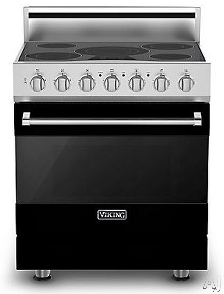 Viking 3 Series RVER33015BBK 30 Inch Freestanding Electric Range with 5 Radiant Elements 3 200 Watts 47 cu ft Convection Oven Halogen Lighting Self Clean and TruGlide Full Extension Rack Black