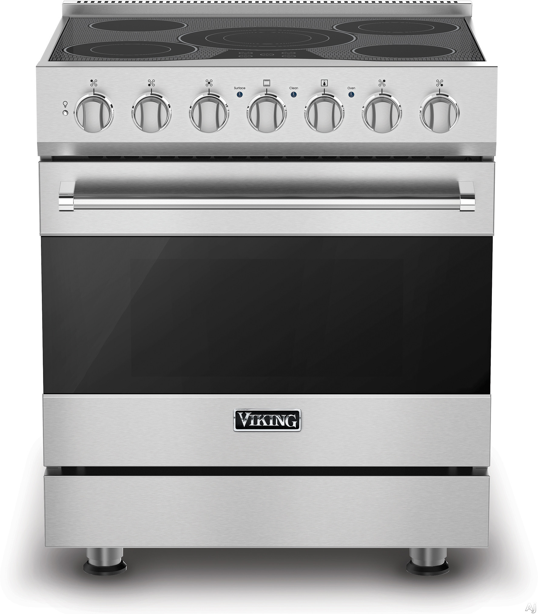Viking 3 Series RVER33015B 30 Inch Freestanding Electric Range with 5 Radiant Elements 3 200 Watts 47 cu ft Convection Oven Halogen Lighting Self Clean and TruGlide Full Extension Rack