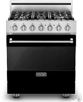 Viking 3 Series RVGR33015BBKLP 30 Inch Freestanding Gas Range with 5 Sealed Burners, 18,000 BTU, 4.0 cu. ft. Convection Oven, TruGlide Full-Extension Oven Rack and Self-Clean Cycle: Black, Liquid Propane
