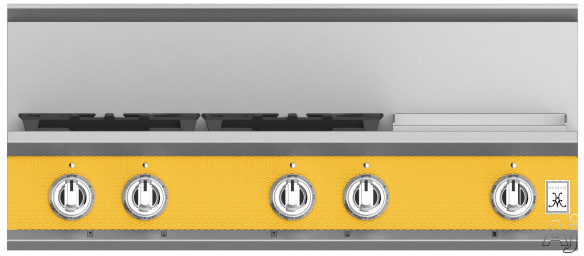 "Hestan KRT364GDLPYW 36 Inch Rangetop with 4 Sealed Burners, 12 Inch Griddle, Cast-Iron Continuous Grates, Backlit Control Knobs and Marquiseâ""¢ Control Panel: Natural Gas / Sol"