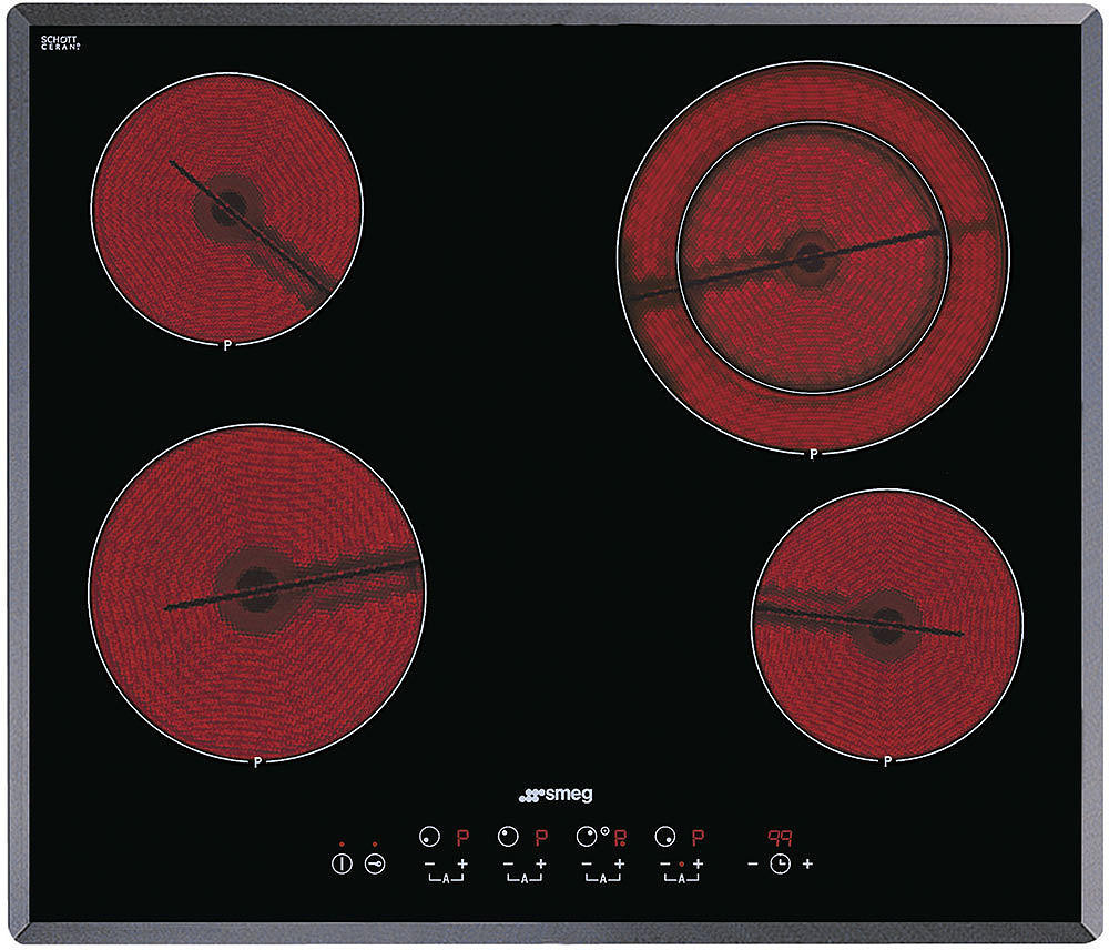 Smeg S2641TCU 24 Inch Smoothtop Electric Cooktop with 4 Heating Elements, 9 Power Levels, Touch Sensor Controls, Angled-Edge Glass and 4 High Light Radiant Elements