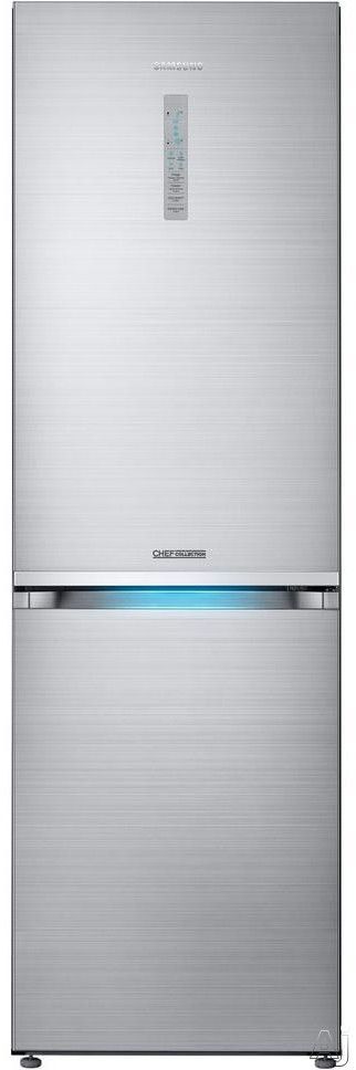 Image of Samsung Chef Collection RB12J8896S4 24 Inch Counter Depth Bottom-Freezer Refrigerator with Fridge-in-Freezer, Twin Cooling Plus, Chef Mode, Temperature Controlled Chef Zone Drawer, Power Cool, Power Freeze, Chef Pan, Tempered Glass Shelving, LED Lighting
