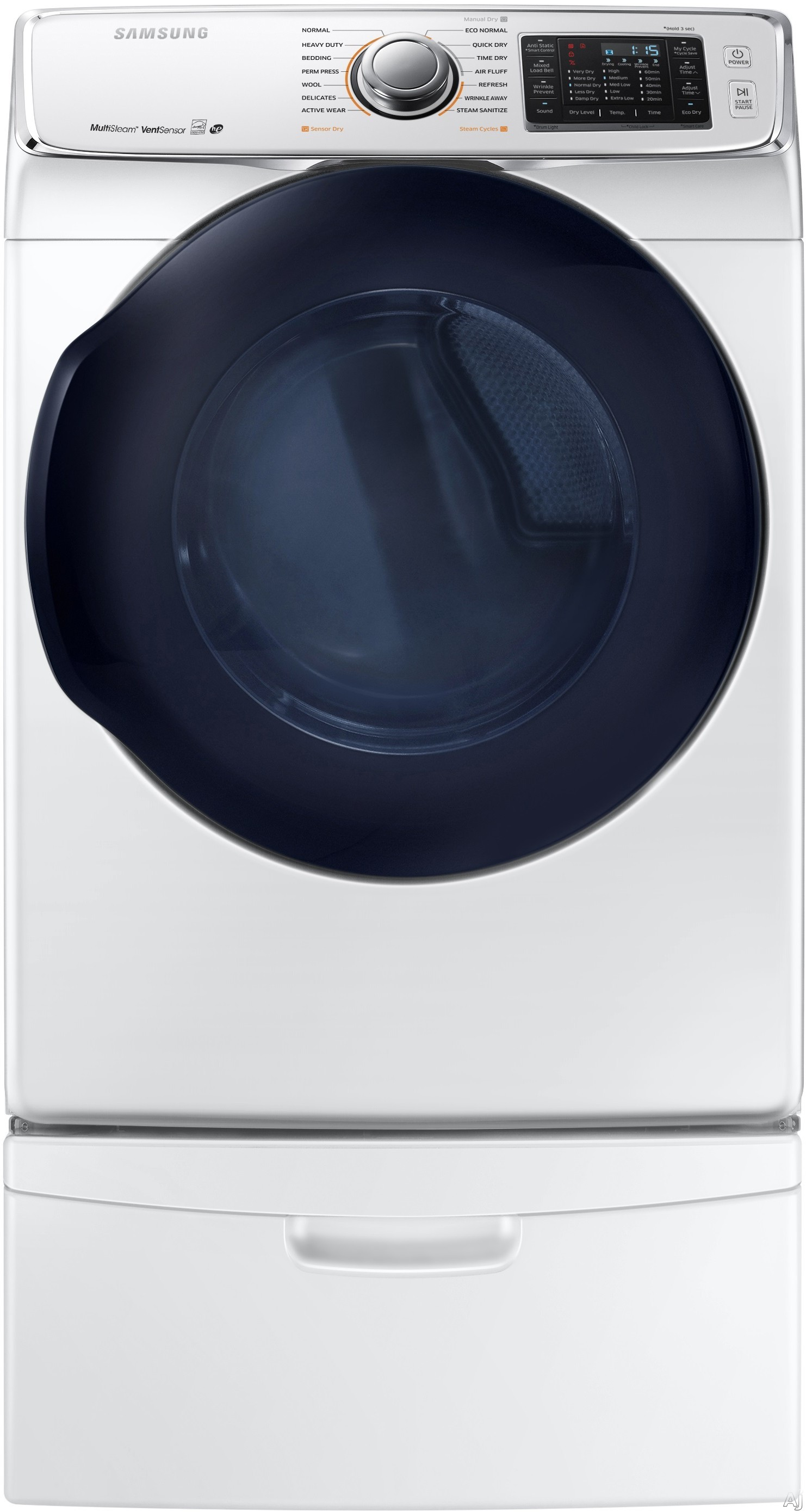 Samsung DV45K6500EW 27 Inch 7.5 cu. ft. Electric Dryer with Multi Steam Smart Care Eco Dry 7.5 cu. ft. Capacity 14 Dry Cycles 11 Dry Options 5 Temperature Selections Vent Sensor and ENERGY STAR Certif