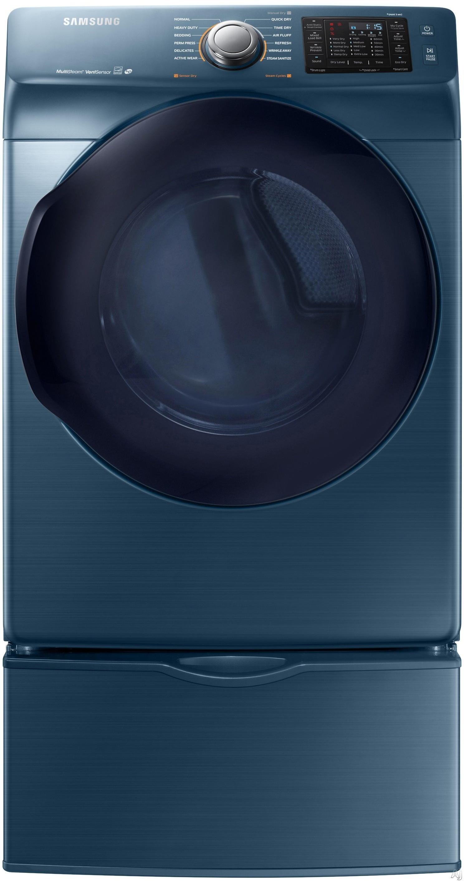 Samsung - 7.5 Cu. Ft. 12-Cycle High-Efficiency Electric Dryer with Steam - Azure DV45K6200EZ