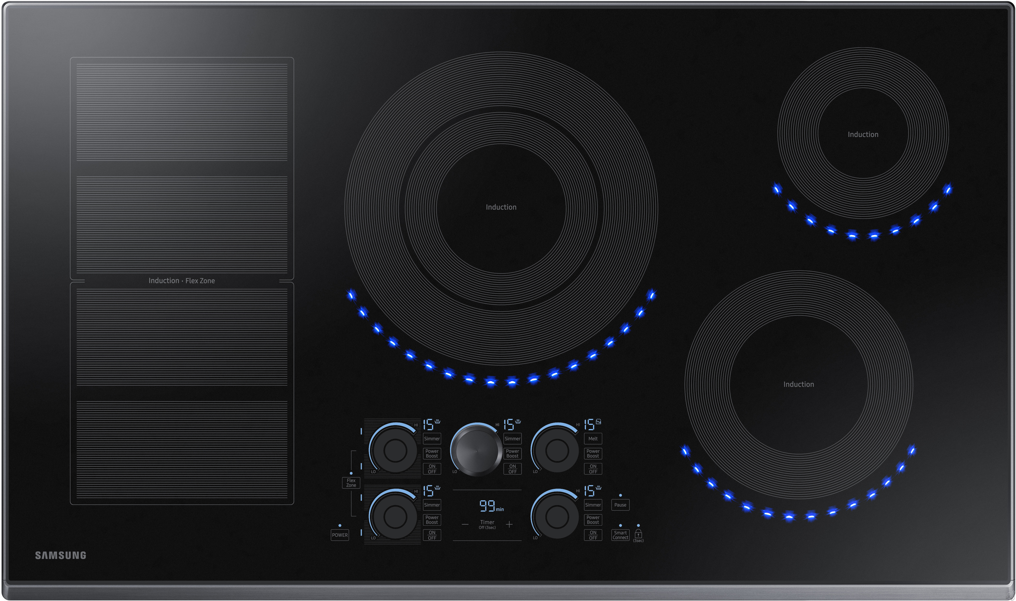 Samsung NZ36K7880UG 36 Inch Induction Cooktop with Flex Zone, 15 Heat Settings, Power Boost, Melt Mode, Simmer Control, Virtual Flame Surface Lights, Timer, Control Lock and Wi-Fi Connectivity: Black
