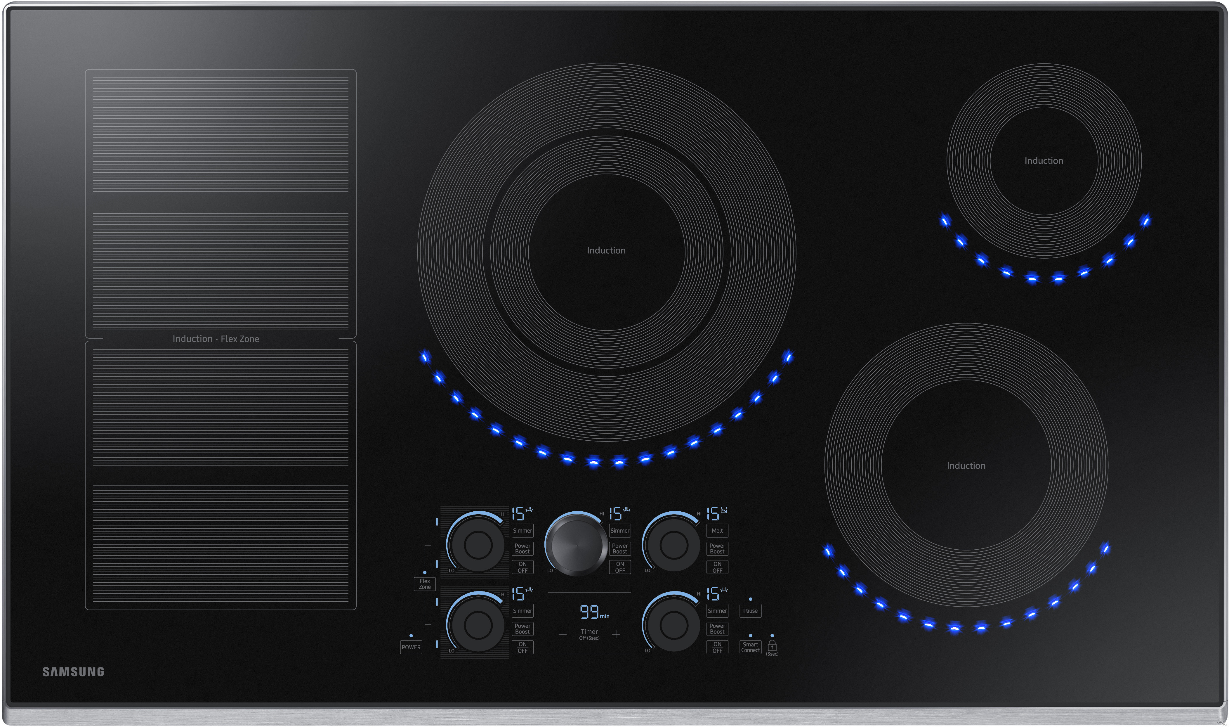 Samsung NZ36K7880US 36 Inch Induction Cooktop with Flex Zone, 15 Heat Settings, Power Boost, Melt Mode, Simmer Control, Virtual Flame Surface Lights, Timer, Control Lock and Wi-Fi Connectivity: Stainl