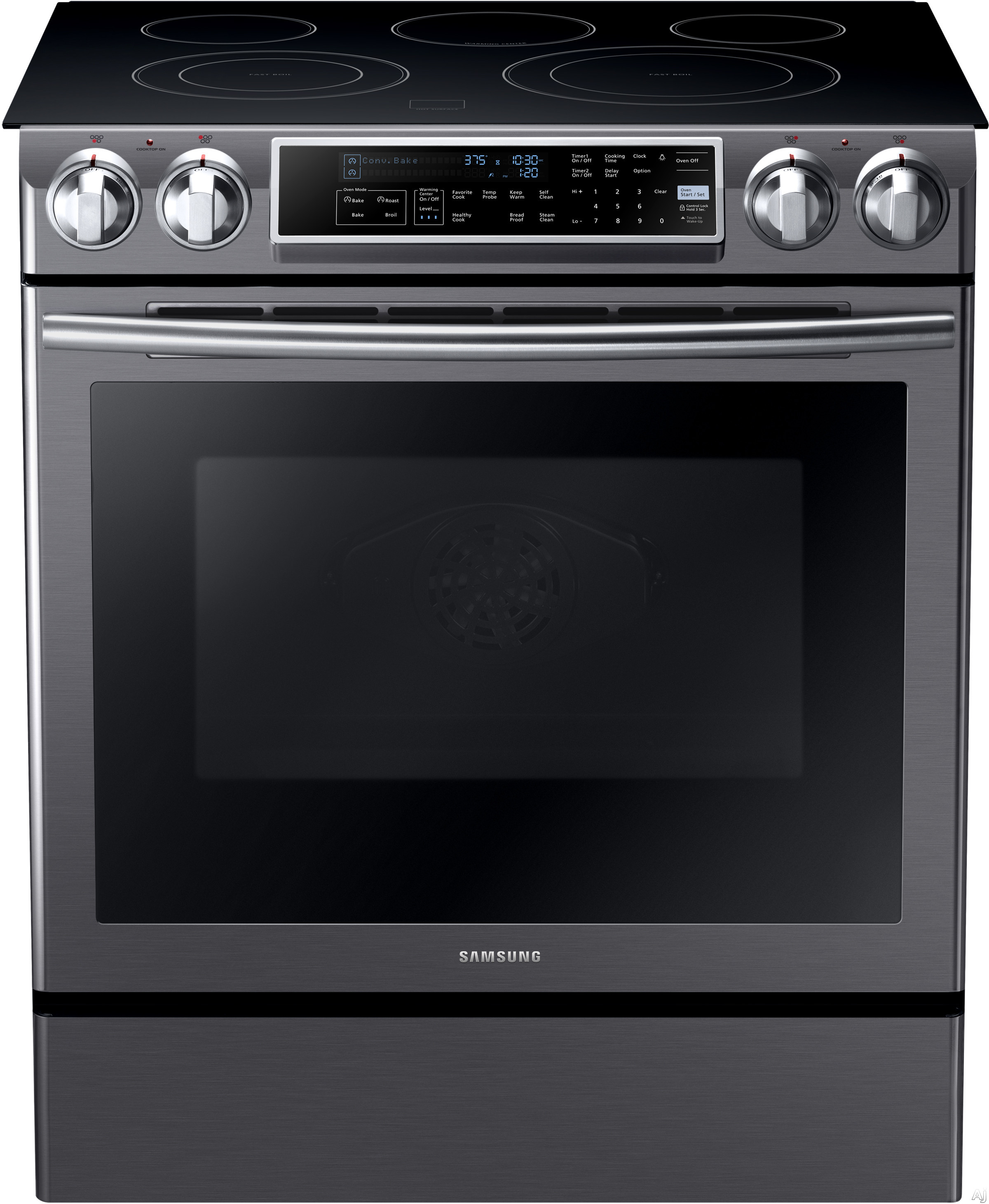 Samsung NE58K9500SG 31 Inch Slide-In Electric Range with 5 Heating Elements, 5.8 cu. ft. Convection Oven, Guiding Light Controls, Perfect Cooking Probe, Storage Drawer and Self Clean with Steam