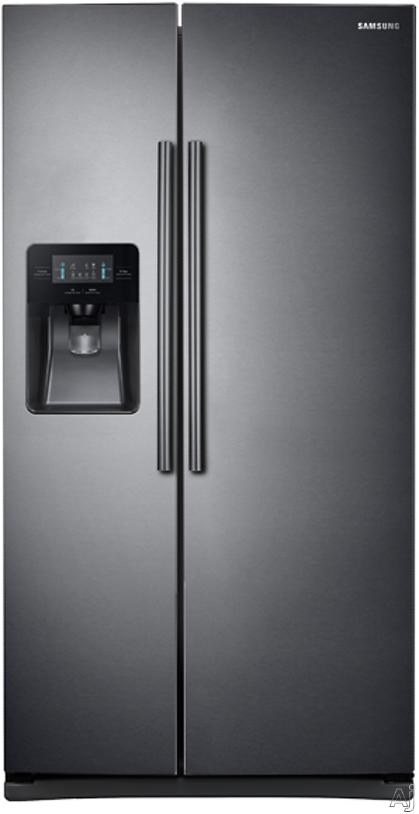 Samsung RS25J500DSG 36 Inch Side-by-Side Refrigerator with Filtered Ice and Water Dispenser, Power Cool/Power Freeze, Adjustable Spill Proof Shelves, 2 Humidity Controlled Drawers, Gallon Door Bins, LED Display, 25 cu. ft. Capacity and ENERGY STAR: Black Stainless Steel
