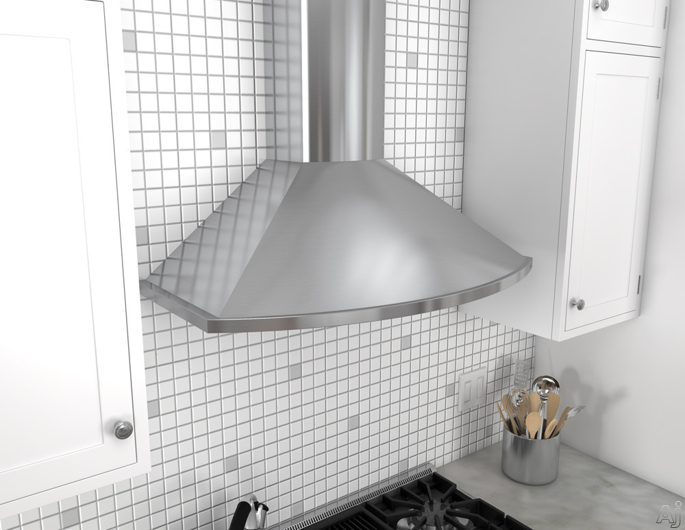 Zephyr Europa Savona Series ZSAM90DS 36 Inch Wall Mount Chimney Hood with Recirculating Option, Icon Touch® Controls, Titanium Coating, BriteStrip™ LED and 685 CFM: Stainless Steel
